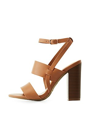 Bamboo Ankle Strap Block Heel Sandals