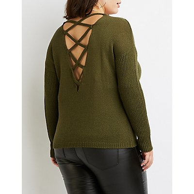 Plus Size Caged-Back Pullover Sweater
