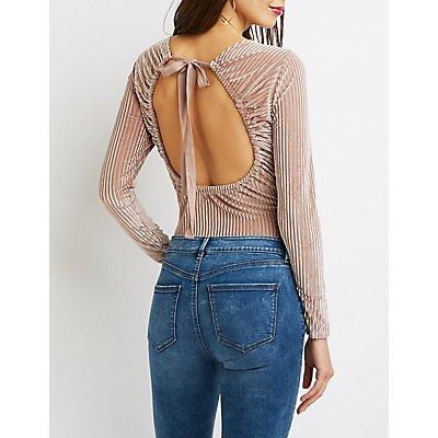 Velvet Ribbed Knit Bodysuit
