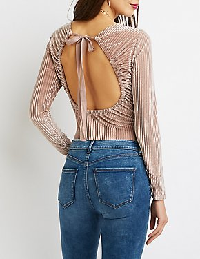 Velvet Ribbed Knit Bodysuit
