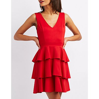 V-Neck Ruffled Tiered Dress