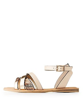 Bamboo Ankle Strap Flat Sandals