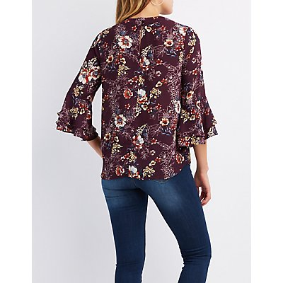 Floral Choker Bell Sleeve Top