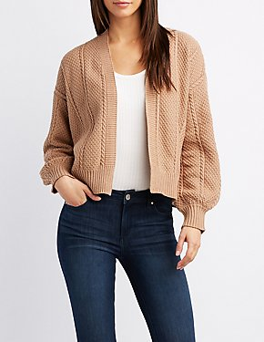 Cropped Open-Front Cardigan