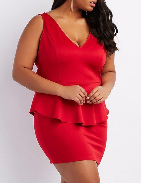 Plus Size Heart Back Peplum Dress Charlotte Russe