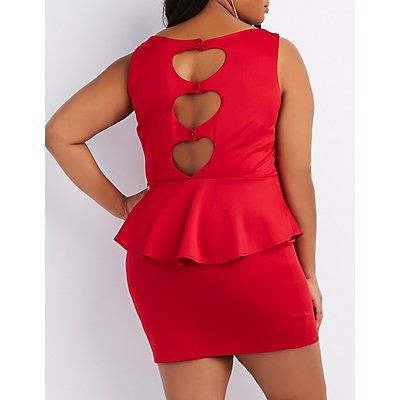 Plus Size Heart-Back Peplum Dress