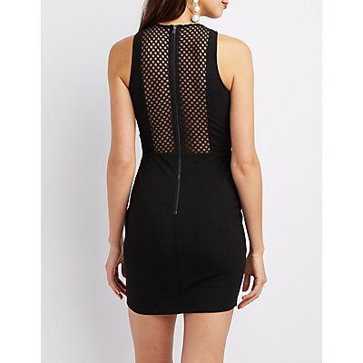 Embroidered Mesh-Inset Bodycon Dress