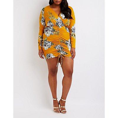 Plus Size Floral Cinched Bodycon Dress