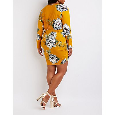 Plus Size Floral Cinched Bodycon Dress