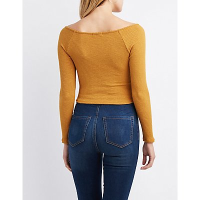 Ribbed Knit Ruched Crop Top