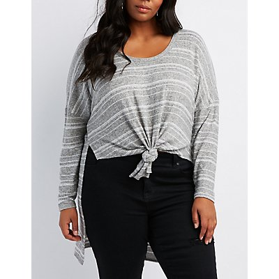 Plus Size Striped Tie-Front High-Low Tunic Top