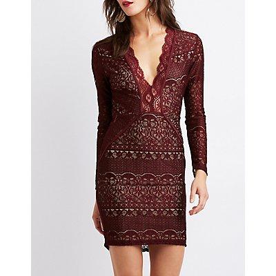 Lace V-Neck Bodycon Dress