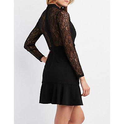 Lace-Inset Skater Dress
