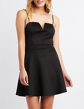 Notched Skater Dress