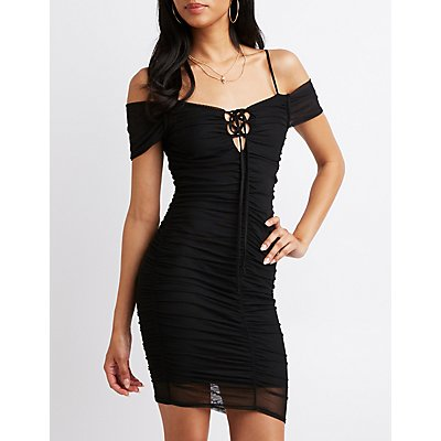 Ruched Cold Shoulder Bodycon Dress