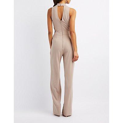 Mock Neck Cut-Out Jumpsuit