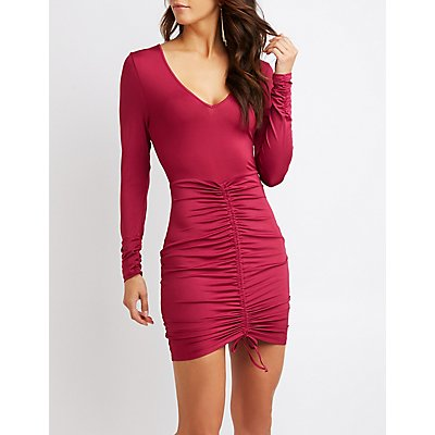 Ruched Tie-Front Bodycon Dress