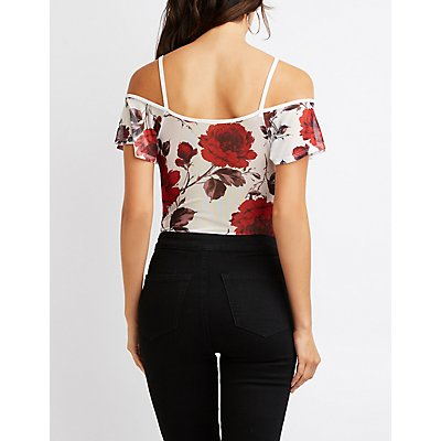 Floral Ruffle-Front Cold Shoulder Bodysuit