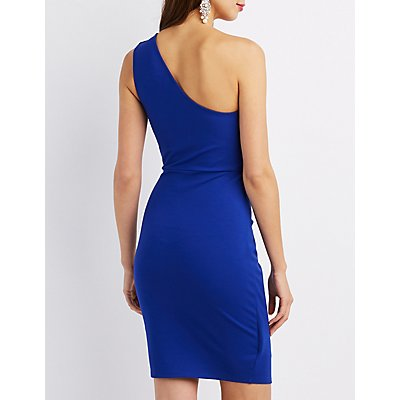 Ruched One-Shoulder Bodycon Dress
