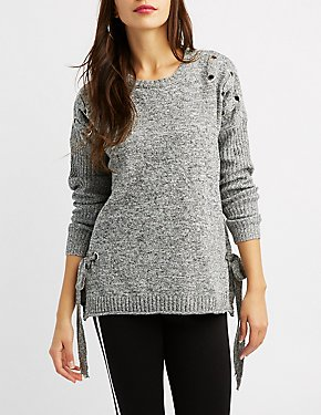 Grommet-Detail Pullover Sweater