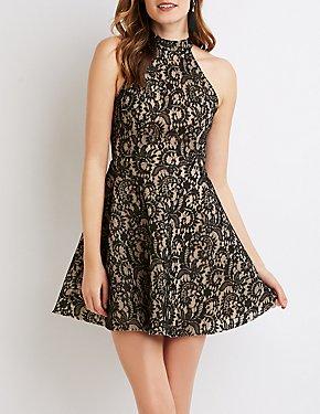 Lace Halter Skater Dress