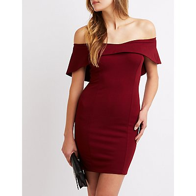Ruffle-Trim Off-The-Shoulder Bodycon Dress