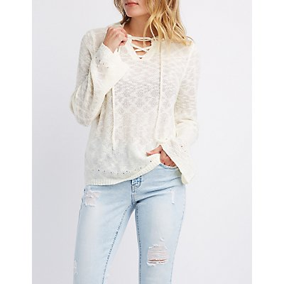 Lace-Up Knit Hoodie