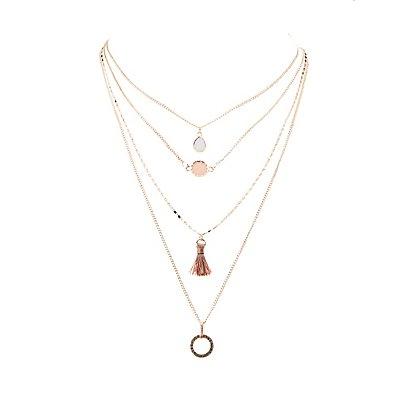 Embellished Layered Tassel Pendant Necklace