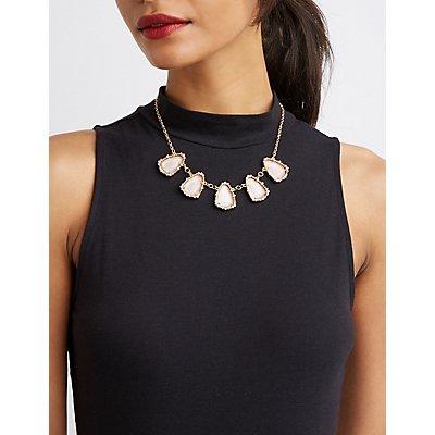 Stone & Crystal Bib Necklace