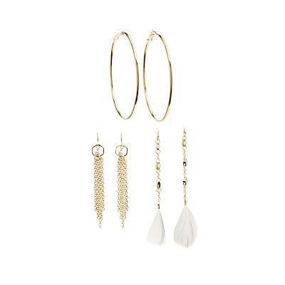 Embellished Chandelier & Hoop Earrings - 3 Pack