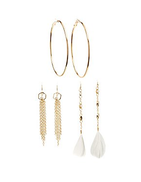 Embellished Chandelier & Hoop Earrings - 3 Pack