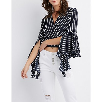 Striped Bell Sleeve Wrap Top