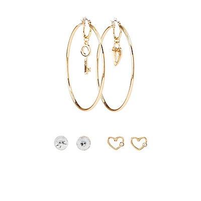 Crystal Embellished Stud & Hoop Earrings