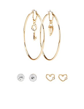 Crystal Embellished Stud & Hoop Earrings