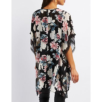 Floral & Crochet-Trim Kimono
