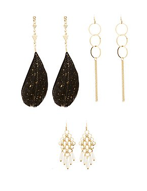 Embellished Chandelier Earrings - 3 Pack