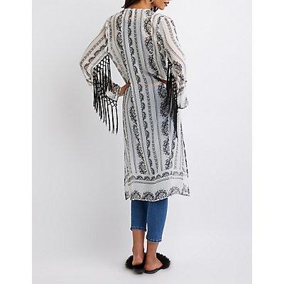 Printed Fringe-Trim Kimono