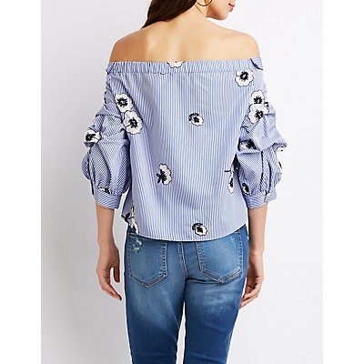 Floral Embroidered Off-The-Shoulder Button-Up Top