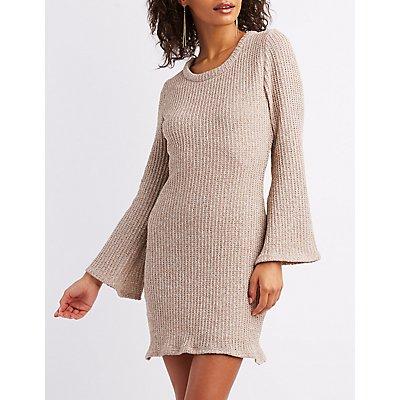Open Knit Bell Sleeve Sweater Dress