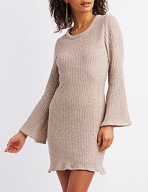 Open Knit Bell Sleeve Sweater Dress
