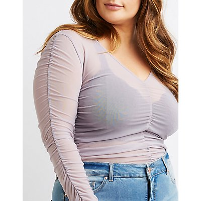 Plus Size Ruched Sheer Mesh Top