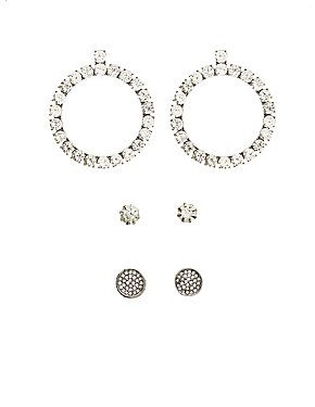 Crystal Stud & Hoop Earrings - 3 Pack
