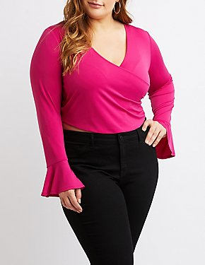 Plus Size Faux Wrap Bell Sleeve Top