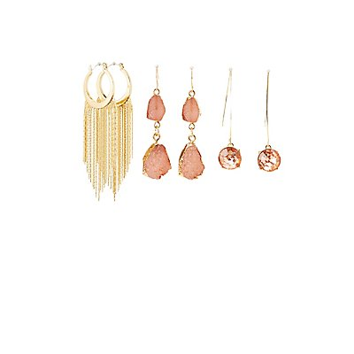 Crystla & Tassel Drop Earrings - 3 Pack
