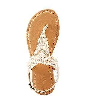 Braided Macrame T-Strap Sandals