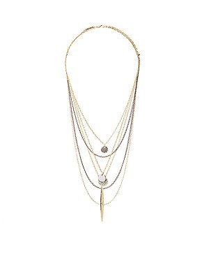 Pave Crystal Layered Chain Necklaces