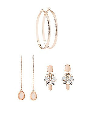 Embellished Hoop & Drop Earrings - 3 Pack