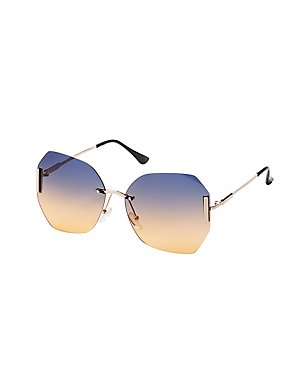 Oversized Metal Square Frame Sunglasses