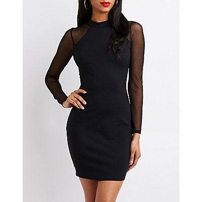 Mesh-Inset Bodycon Dress