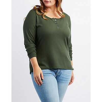 Plus Size Waffle Knit Henley Top